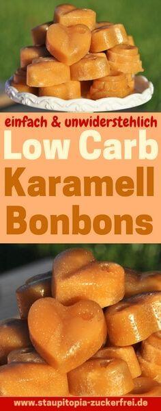 Low Carb Karamell Bonbons selber machen: Einige Versuche hat es gedauert, bis ich es geschafft habe leckere Low Carb Karamell Bonbons selber zu machen. Jetzt hat es geklappt und das Rezept möchte ich mit dir teilen. Du benötigst nur 4 Zutaten. #lowcarb #lchf #abnehmen #powerfood #foodblogger #rezept #deutsch #Ernährung #backen #gesund #gesunderezepte #einfachundschnell #gesundessen #ohnezucker #ohnemehl #karamel #zuckerfreibacken #backenohnezucker #Foodblog #erythrit #fibersirup #staupitopia