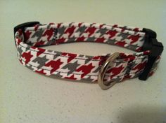 Ohio State scarlet and gray houndstooth dog collar on Etsy, $12.00