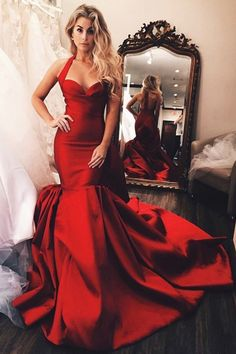 0a241cd0e10 Gorgeous Halter Mermaid Red Long Wedding Dres Formal Dress Award Show  Dresses