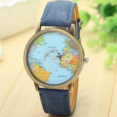 Cute Blue Jean World Map Watch