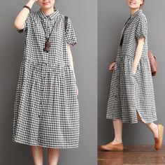 Causal Grid Dress Summer Women Clothes Q0707