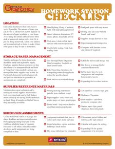 Checklist to create a Homework Station for kids. www.facebook.com/cluborganomics www.twitter.com/smeadorganomics www.youtube.com/smeadorganomics www.Gplus.to/Smead www.pinterest.com/smeadorganomics
