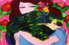 丁雄泉 - 女郎和綠色的貓