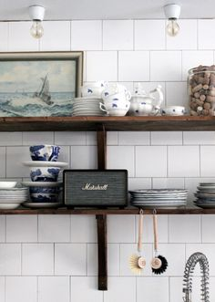 Marshall Acton Speaker in Johanna Bradford's open shelf kitchen | via @natmarchbanks