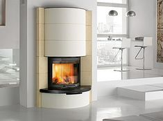 Modern round corner fireplace white style room
