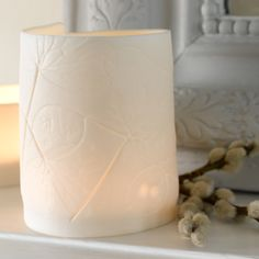 Beautiful Parian Clay T-light holder with impressed leaves