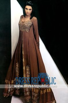 Cookie Brown Flared Gown with heavy embellished bodice by Asifa and Nabeel