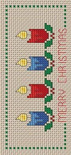 Christmas Bookmark free cross stitch pattern: