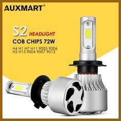AUXMART 2pcs 3 Sides 9007 9004 H13 H4 LED Bulb Car Headlight 72W 6500K COB 2 Sides 9012 9005 9006 H1 Led H7 Bulb H3 H11 Fog Lamp