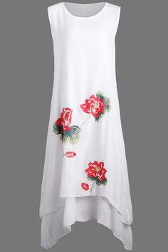 $13.27 Casual Linen Dress with Lotus Flower Print - White