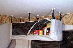 Pop Up Trailer Storage: Hanging Pantries and Hanging Storage for Trailers - Camping and Trailer Living Pop Up Tent Trailer, Trailer Storage, Camper Storage, Camping Ideas, Camping Glamping, Camping Essentials, Auto Camping, Glam Camping, Backpacking Tent