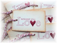 Wishing you LOVE - gift/hang tags (6) by HeartsCalling on Etsy