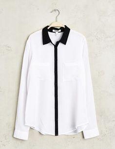 Chemise mousseline blanche et noire