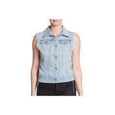 Rails Diego Cotton Denim Vest ($50) ❤ liked on Polyvore featuring outerwear, vests, blue, vest waistcoat, blue denim jacket, sleeveless vest, sleeveless jean jacket and jean vest jacket
