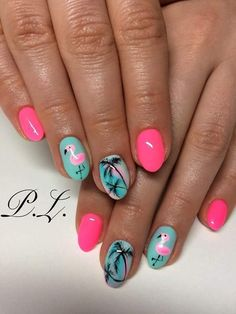 Nail design, nail ideas, palms, summer, flamingo nails, pink