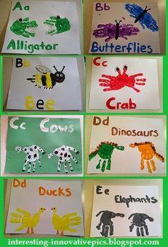 Fun preschool art activities   A to E hand print alphabet arts for Kindergarten kids   Kindergarten Classroom Ideas and Activities   Kid's handprint animals and birds picture
