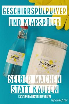 Geschirrspülpulver und Klarspüler selber machen // DIY www.detail-Verlie …: Making cheap dishwashing powder and rinse aid yourself is very easy. You can find the purely natural ingredients in every drugstore. Crafts For Teens To Make, Diy And Crafts, Easy Crafts, Goji, Homemade Toilet Cleaner, Clean Baking Pans, Glass Cooktop, Dishwashing Liquid, Diy Wall Shelves