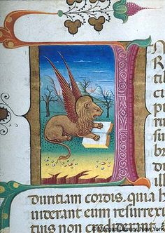 Book of Hours, MS G.14 fol. 113r - Evangelist: Symbol, Mark -- Lion, nimbed, winged, places front paws on open book in landscape setting. Figure in decorated initial I with foliate extensions and on gold background.
