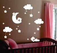 """Velké rozměry 72 """"x 62"""" dětské školky pokoj měsíc a hvězdy vinylové samolepky na zeď, roztomilý usměvavý hvězdy s bílými mraky dítě pokoj dekor"""