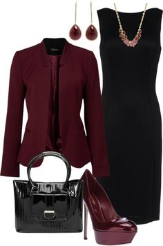 "Perfect warm color for fall & winter - ""Wine and Black"" by lovelyingreen on Polyvore"
