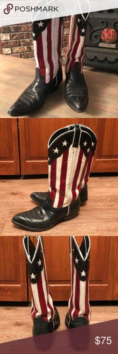 """Code West USA Made Boots - Size 7-1/2 M Vintage all leather, USA handcrafted """"Flag"""" boots from Code West.  Navy blue foot with matching toe bug, red and white striped 11"""" top,  leather lined, leather soles, under slung 1"""" walking heel, spur ridge, and navy and white star inlay collar.  White piping. Pointed toe. Code West Shoes"""