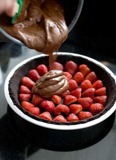 Chocolate Strawberry Pie  Strawberries Oreo Pie Crust Cool Whip Box of Chocolate Pudding Line the pie shell with strawberries, mix chocolate pudding and cool whip, then cover strawberries. Garnish with sliced strawberries on top. EZ PZ!!