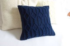 Navy blue knit cushion cover midnight blue cable by Adorablewares, $35.00