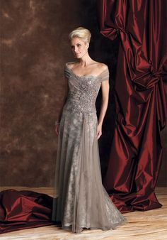 Attractive Off-the-shoulder Two-double Pleated Appliques A-line Mother Of The Bride Gown.  | followpics.co