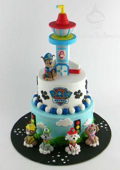 Paw Patrol Cake by Honey Workshop. - Paw Patrol Cake von H Paw Patrol Cake, Paw Patrol Birthday Cake, Paw Patrol Cupcakes, Toddler Birthday Cakes, 4th Birthday Cakes, Birthday Ideas, Teen Cakes, Cakes For Boys, Pastel Paw Patrol