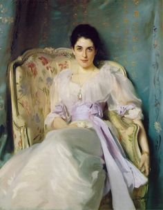 """Portrait of Lady Agnew of Lochnaw by John Singer Sargent; oil on canvas 1892 """" Lady Agnew's direct gaze and informal pose, emphasized by the flowing fabric and lilac sash of her dress ensure the. Art Quiz, L'art Du Portrait, Classic Paintings, Art Moderne, American Artists, Art History, Oil On Canvas, Illustration Art, Illustrations"""