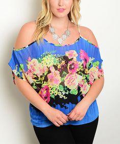 Love this Royal Blue & Magenta Floral Open-Shoulder Top on #zulily! #zulilyfinds