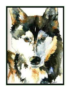Watercolor Set of Eight 8 Siberian Husky Dog Greeting Note Cards Notecards