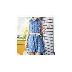 Sleeveless Denim Dress (€16) ❤ liked on Polyvore featuring dresses, women, sleeveless denim dress, champi, no sleeve dress, denim dress and blue dress