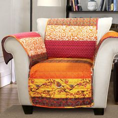 Lush Decor Royal Empire Armchair Furniture Protector Slipcover ($28) ❤ liked on Polyvore featuring home, furniture, chairs, accent chairs, multi, slipcover armchair, colored furniture, slipcover chair, orange chair and orange accent chair