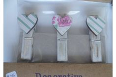 Wooden Bamboo Pegs white washed with decoupage wooden heart by Buggaluggs - Made with love