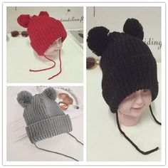 Sale 10% (5.89$) - Children Baby Infant Toddler Solid Color Knit Hat Cute Hairball Beanie Cap