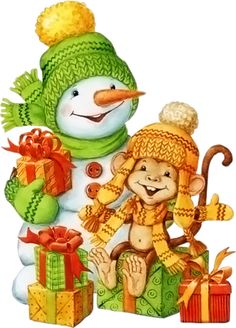 "Photo from album ""Обезьянки"" on Yandex. Monkey Drawing, Snowman Clipart, Christmas Vases, Christmas Characters, Craft Activities, Views Album, Bowser, Character Art, Decoupage"
