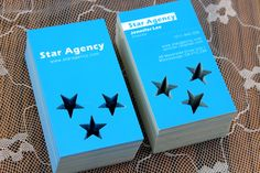 Star-shaped die cutting on Ultra Thick 26 pt Matte Laminated business cards. Die cutting is a great way to add something special and unique to your business card!