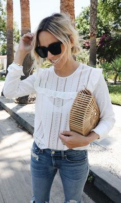 summer outfits White Blouse + Distressed Denim