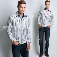 Men's Vintage shirt Men's 70s shirt Men's Top Blue Stripe shirt Vintage top - M