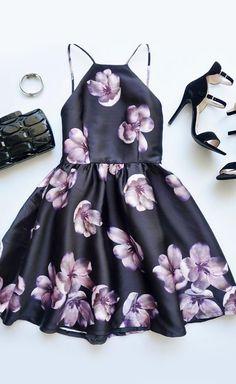 Backless black and purple floral print dress #homecomingdresses