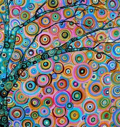 I LOVE the movement and uplifting colors in this!  circles make a tree