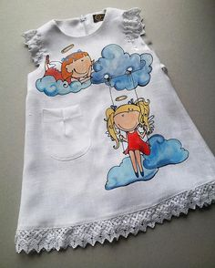 White baptism lace baby dress Painted angel girl dress Unique