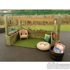 Provide an area outside protected from sun and drizzle where small groups of children can play together with our sensory cosy garden. Kids Outdoor Spaces, Eyfs Outdoor Area, Outdoor Play, Childrens Play Area Garden, Kids Play Area, Garden Ideas Children, Backyard Playground, Backyard For Kids, Outdoor Nursery