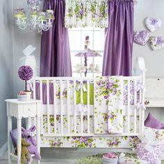 Purple Flowers Themed Baby Girls 5P w Floral Pillow Nursery Crib Bedding Set   eBay