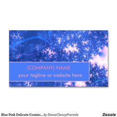 Blue Pink Delicate Cosmic Growth, Osmosis Fractal Pack Of Standard Business Cards