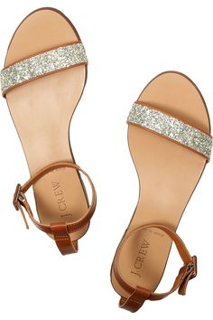 Glittered leather flat sandals by J. Crew....Got a pair from Target exactly like this for much less!