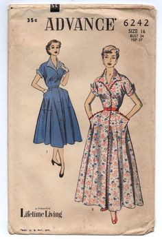 """1950's Advance One-Piece Dress with Short sleeves and Pockets Pattern - Bust 34"""" - No. 6242 by backroomfinds on Etsy"""