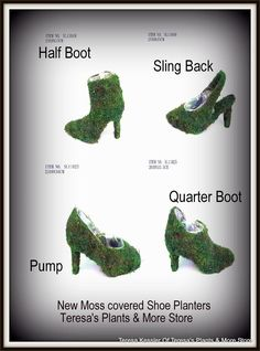The Paula Pump shoe Planter is back in stock! Moss Shoe planters-Moss baskets-Moss pump-Moss boot-Moss Sling Back