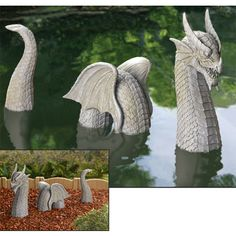 3-Piece Dragon Sculpture. I want him for my garden <------- Me too :)